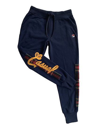 Casual Navy Plaid Sweat Pant
