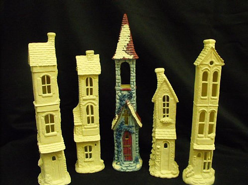 Set of 5 tall thin houses