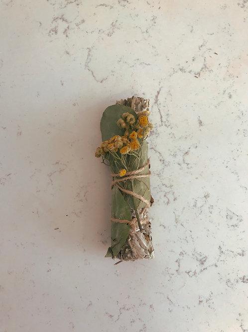 Tansy, eucalyptus, and mugwort smoke wand