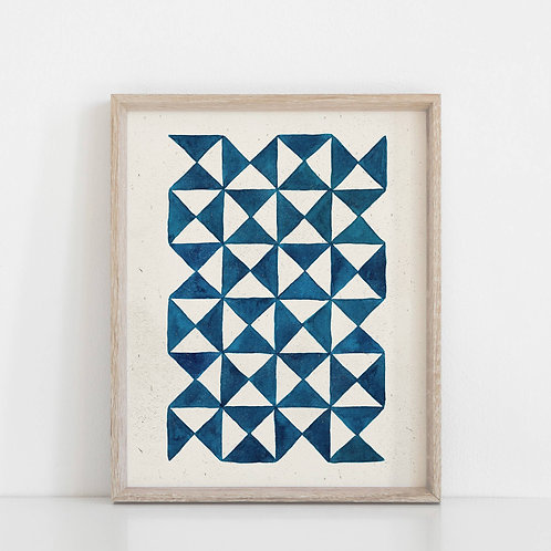Watercolor Pinwheel Quilt Wall Art Print - Blue