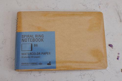 Spiral Ring Notebook- Watercolor Paper- Horizontal B6