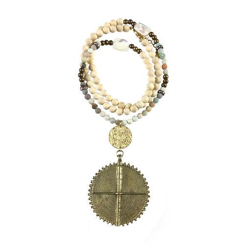 The Nara - Amazonite Brass Wood Bead Necklace