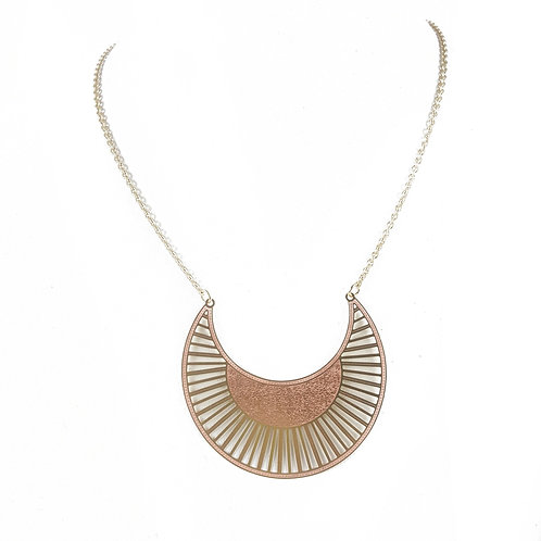 The Gina Textured Sun Pendant Necklace