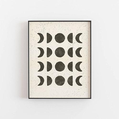 Wall Art Print Moon Phases - Black Cream