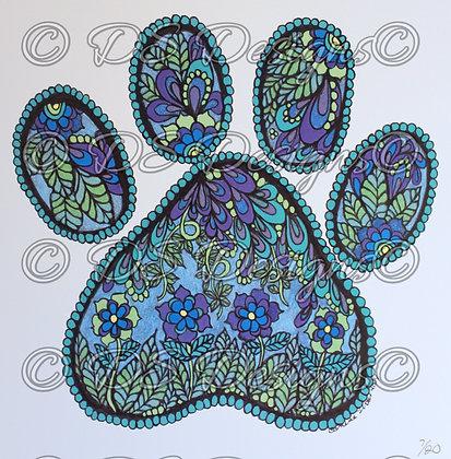 Blue Paw Print