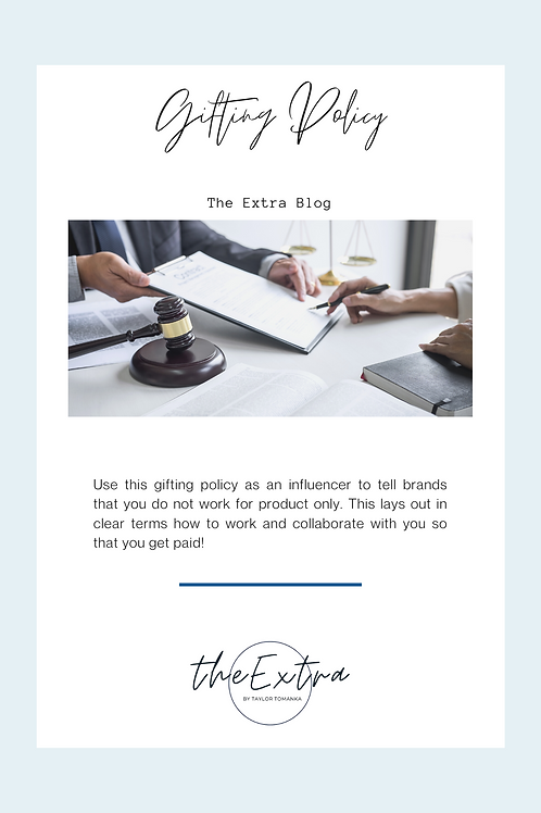 Influencer Gifting Policy