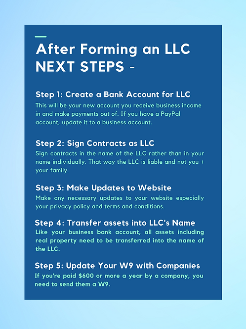 After Forming an LLC