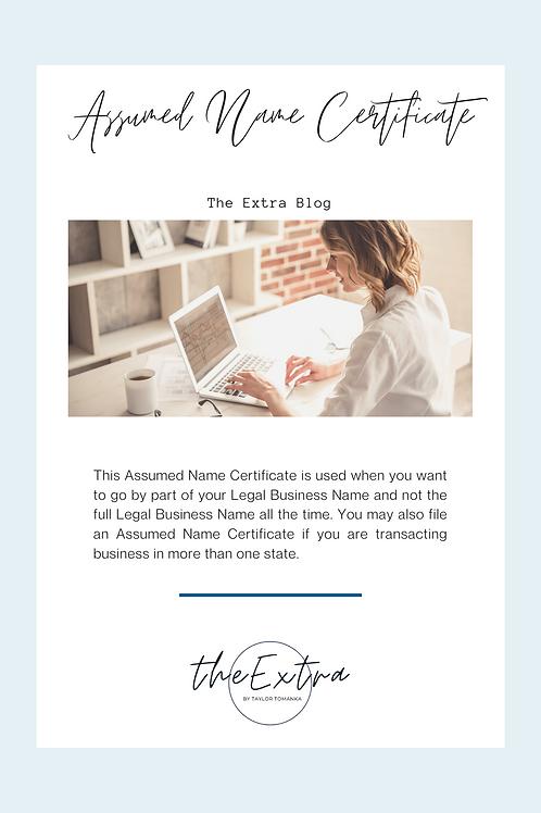 Assumed Name Certificate