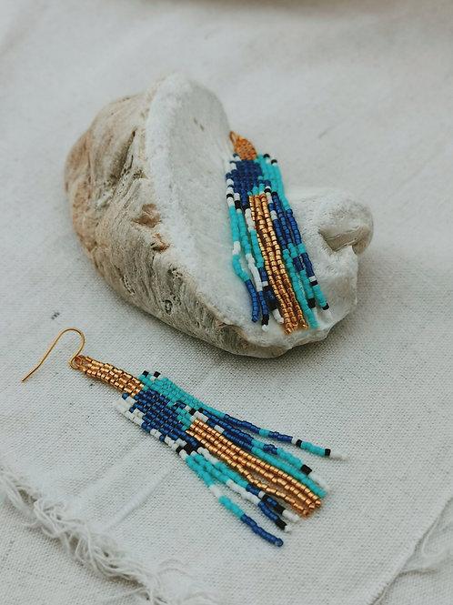 Beaded Pixelled Fringe Earrings