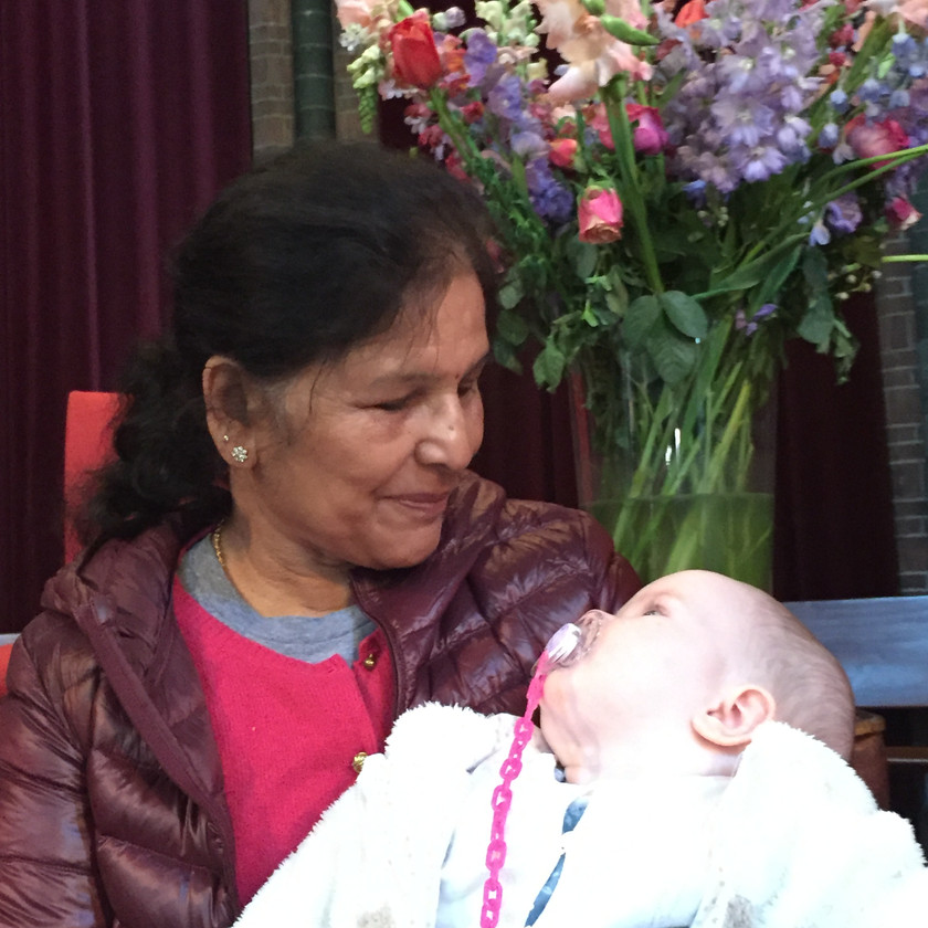 Saraswathi Jois and Lily, April 2017