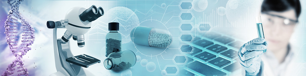Scientific equipment and DNA helix's showcasing the pharmaceutical industry