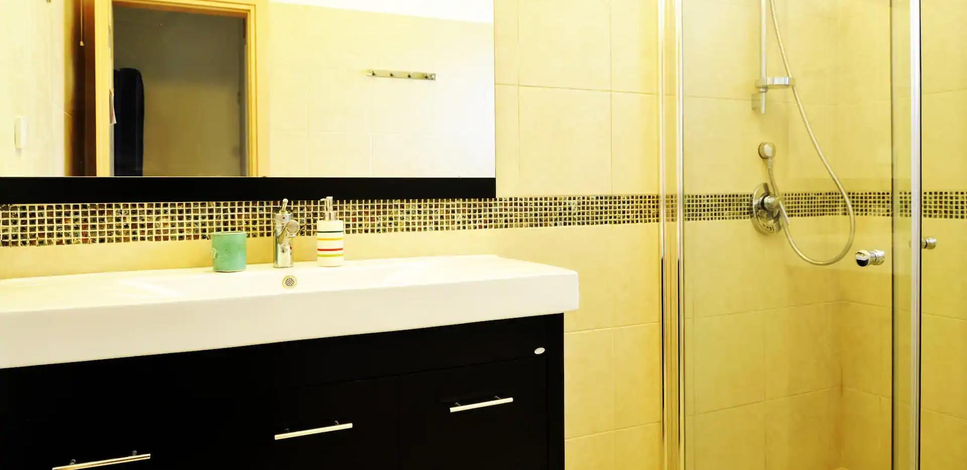חדר רחצה נוסף בקומת הכניסה.נעים ונקי. The external shower room on the ground floor.