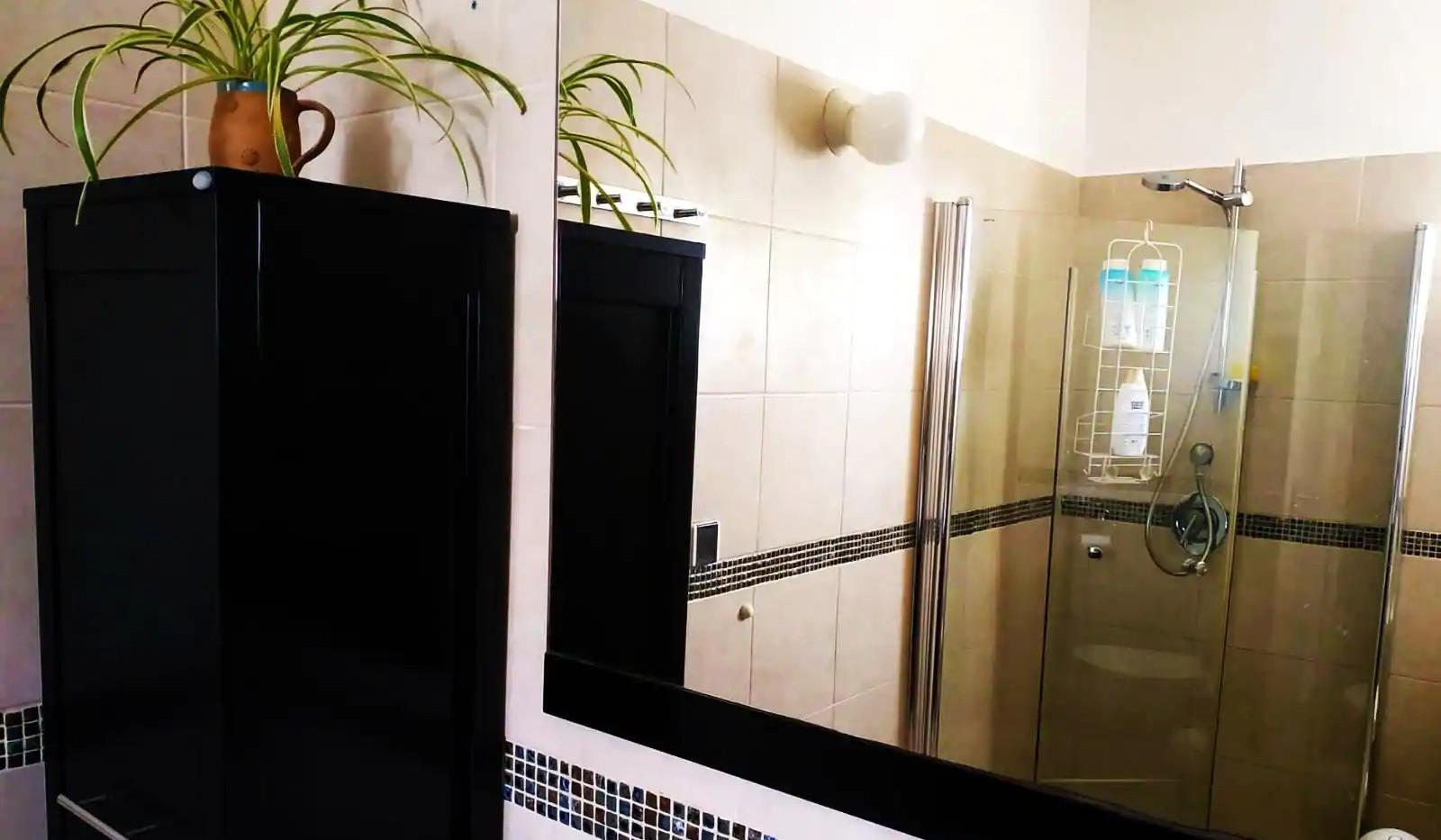 חדר רחצה מובנה בחדר זוגי,קומה תחתונה. An onsuite shower room,the ground floor