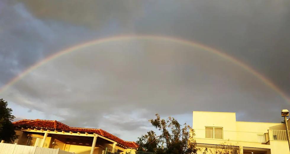 מרץ 2020 . קשת מעל בתי כפר קיש למזל טוב. March 2020. A rainbow above Kfar Kisch's houses means good luck.