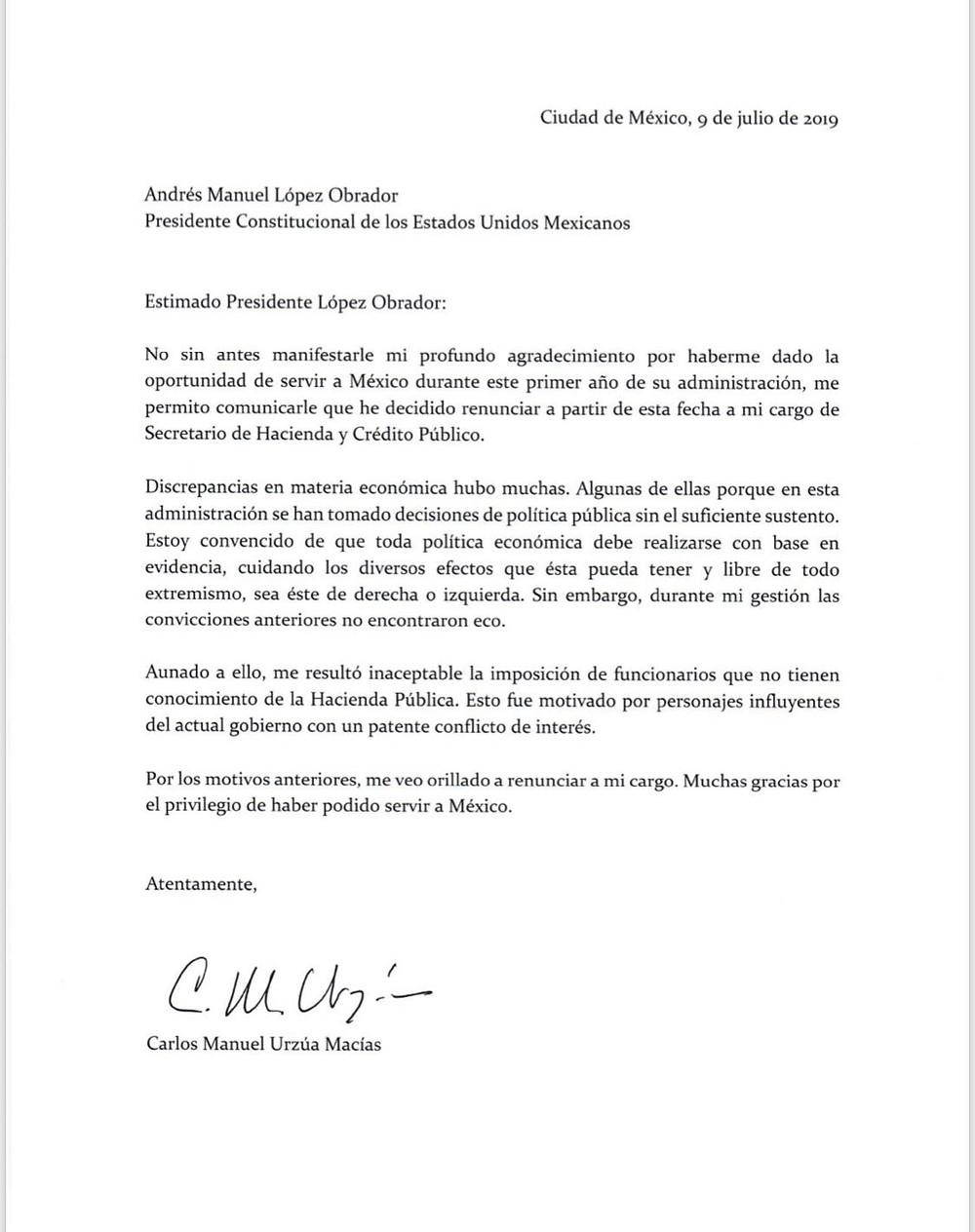 Carta de renuncia de Carlos Urzúa