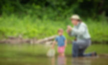 Sam goes fishing with grandson