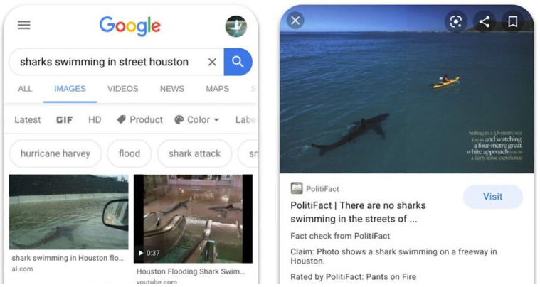 Google begins fact checking images such as the sharks swimming in streets of Houston