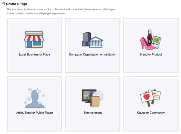 options for creating a business page on Facebook