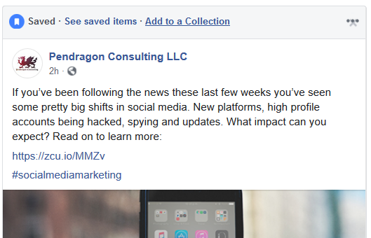 Adding content to a Facebook collection
