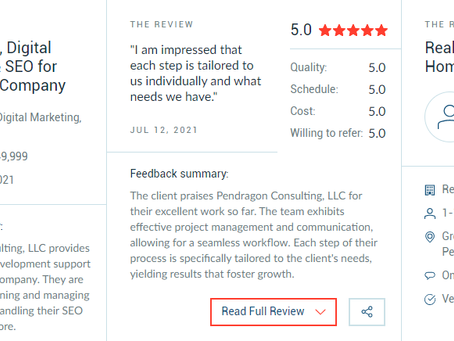 Full-Service Digital Marketing: Pendragon Consulting, LLC Earns New 5-Star Review