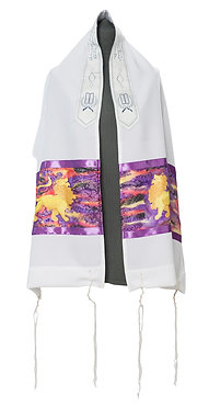 Purple Lion of Judah Messianic prayer Shawl Tallit