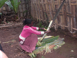 Ethiopian girl making bread