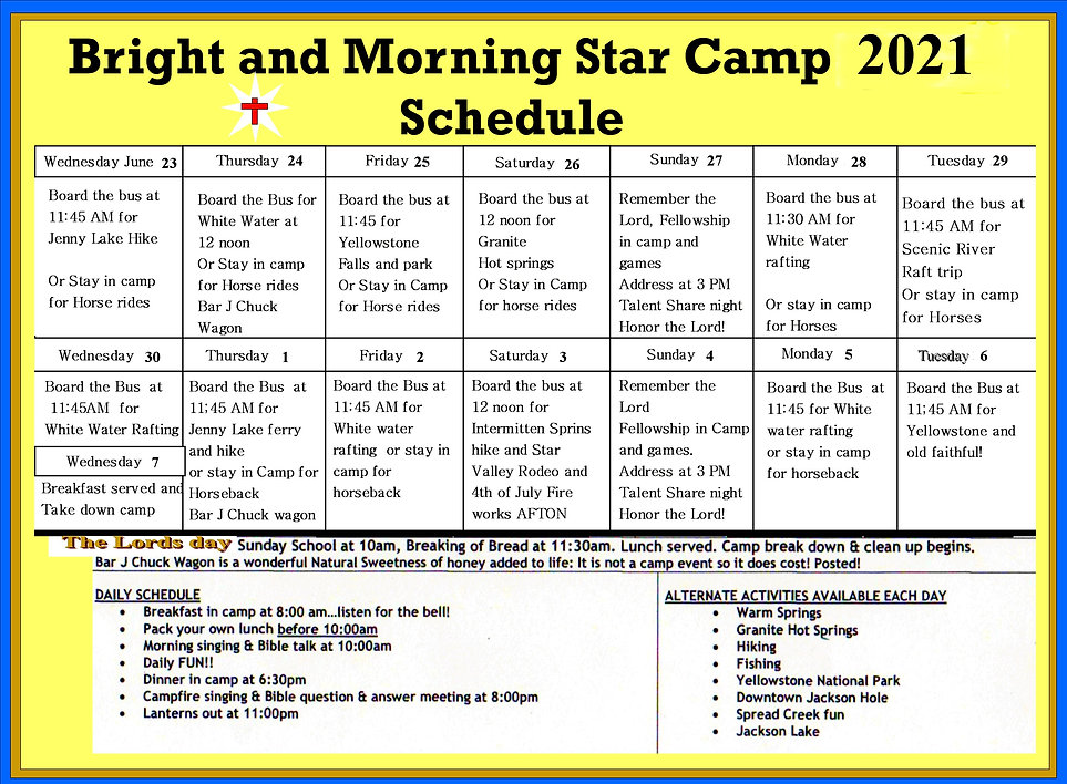 Bright and Morning Star Camp Schedule 20