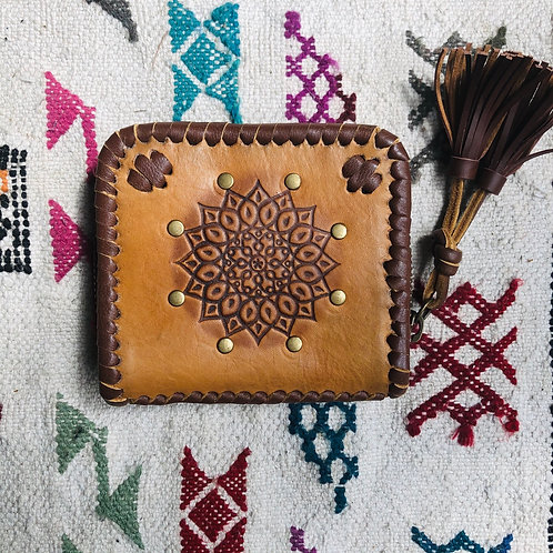 Leather Mandala Wallet ~ Small