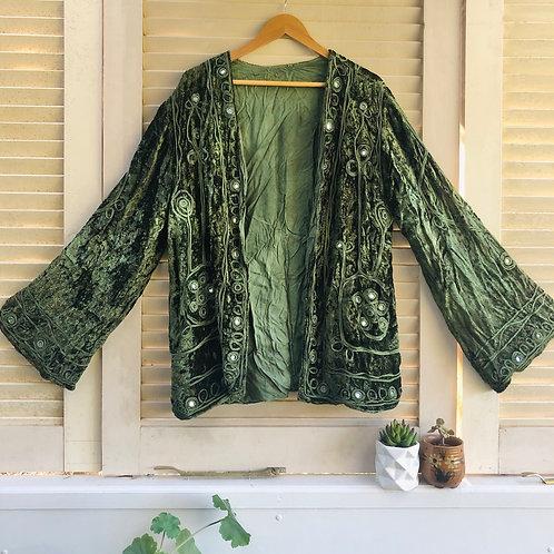 Vintage Rajasthani Velvet Jacket - Emerald L/XL.