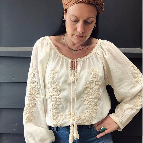 Freya Folk Blouse  - Cream