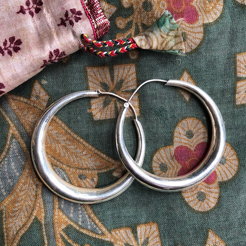 Indian Thick Silver Hoops