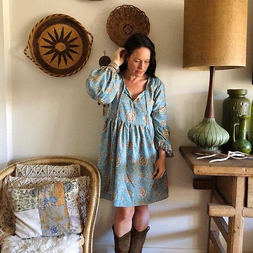 Silk Boho Mini Dress L/XL