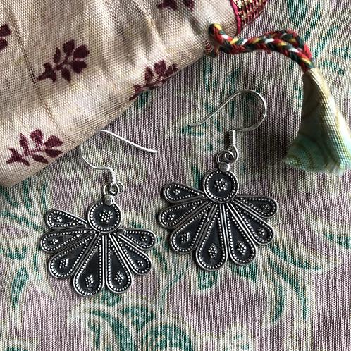 Silver Rajasthani Lotus Earrings