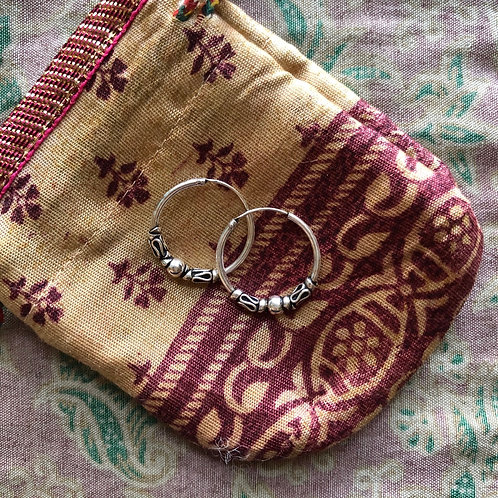 Indian Small Silver Ghera Hoops