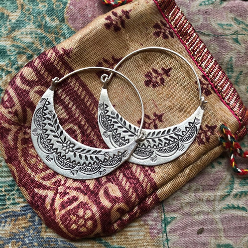 Hilltribe Silver Carved Hoops