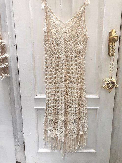 Crochet Fringed Maxi Dress
