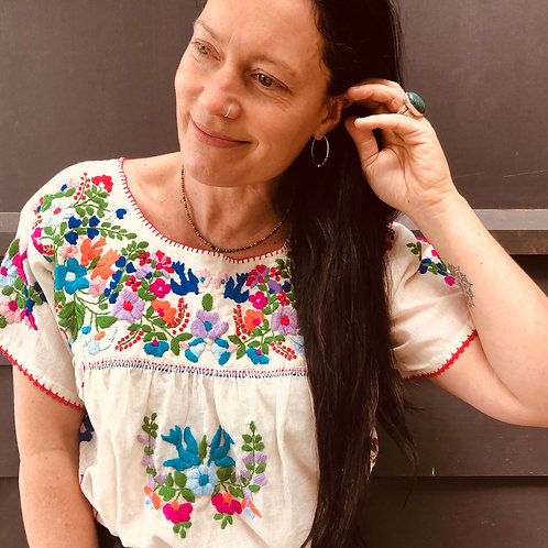 Fleetwood Folk Blouse ~ Cream with Coloured Embroidery