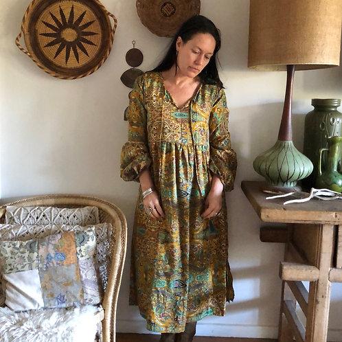 Silk Boho Midi Dress S/M