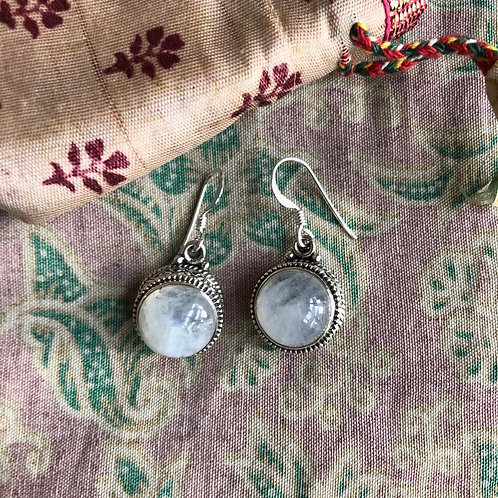 Carved Silver Moonstone Earrings