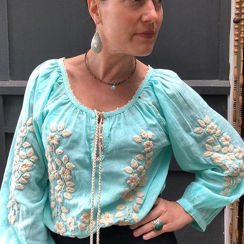 Freya Folk Blouse  - Aquamarine