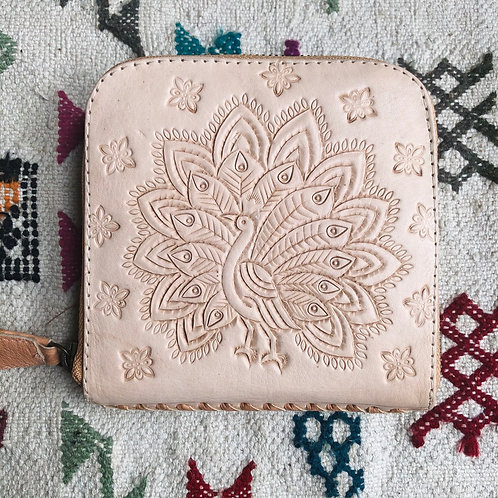 Leather Wallet with Tooled Peacock