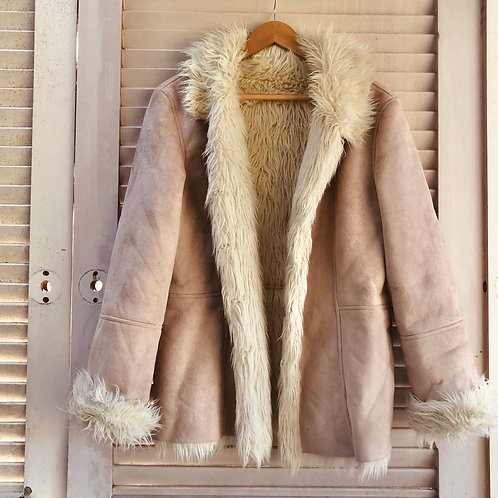 Vintage Faux Suede Sherpa Style Coat