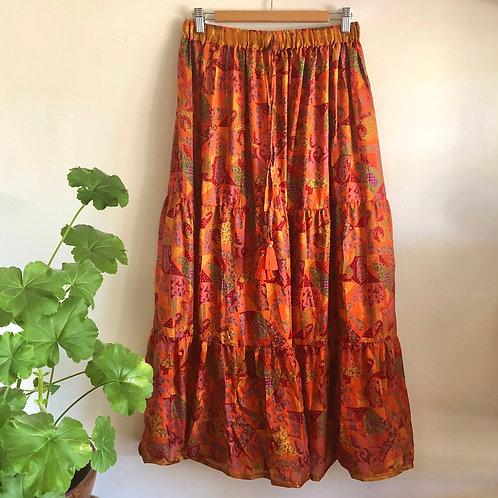 Indian Silk Tiered Maxi Skirt L/XL