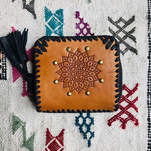 Leather Mandala Wallet ~ Small