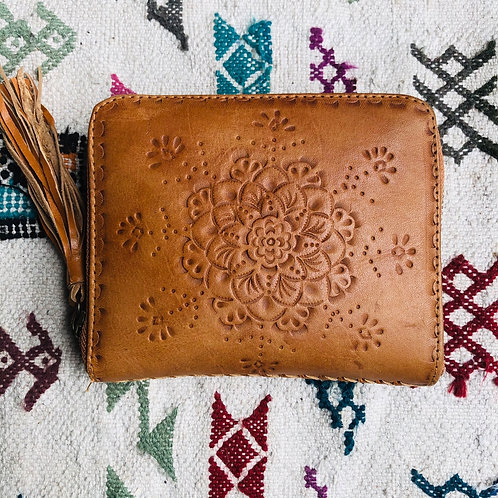 Leather Wallet with Tooled Mandala