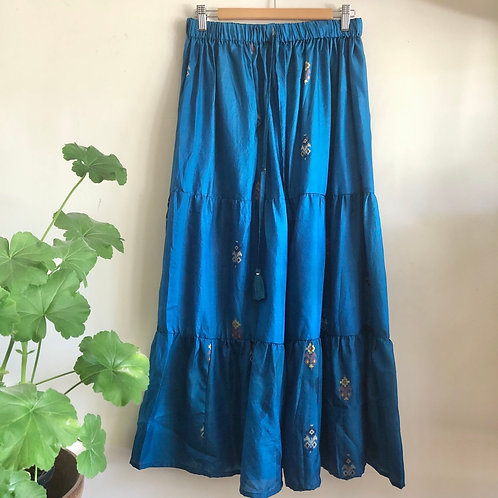 Indian Silk Tiered Maxi Skirt S/M