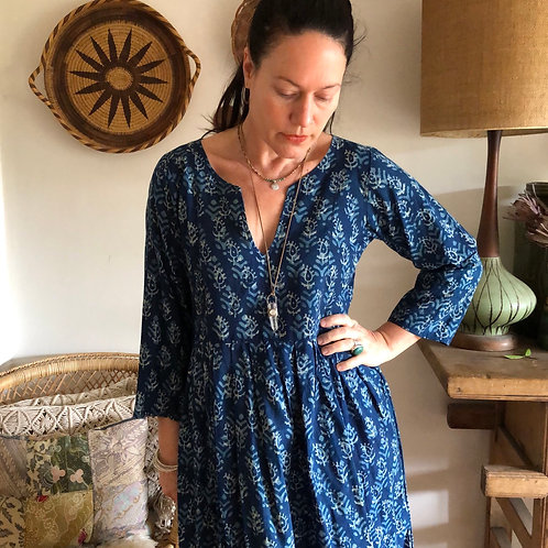 Vintage Indigo Blockprint Dress