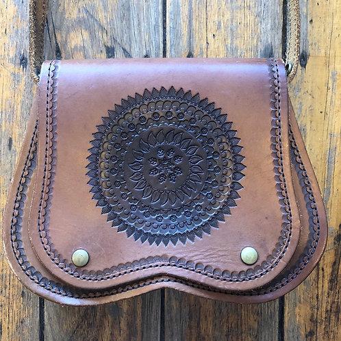 Vintage 70s Tooled Mandala Bag