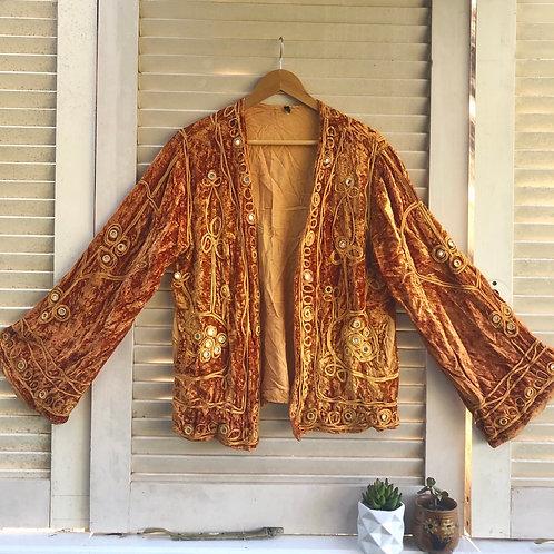 Vintage Rajasthani Velvet Jacket - Liquid Amber S/M