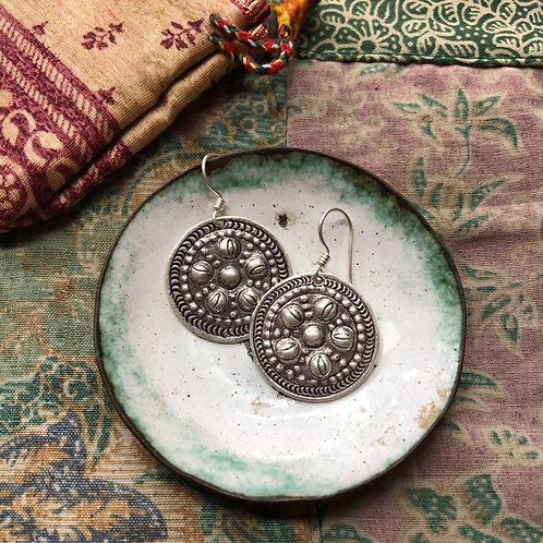 Hilltribe Disc Earrings